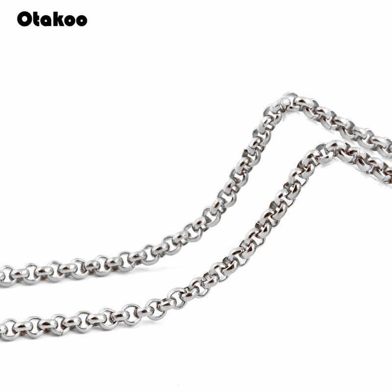 Otakoo 2mm/3mm/4mm/5mm לא יימוג נירוסטה עגולה תיבת כסף צבע עמיד למים גברים קובני שרשרת שונים גדלים
