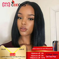 Leeons 15 Inch Yaki Straight Glueless Synthetic Lace Front Wig Long Natural Black Wigs Heat Resistant Fibre Hair For Afro Women