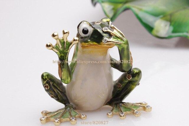 Speak No Evil Frog Trinket Box Frog speak no evil Jeweled Frog