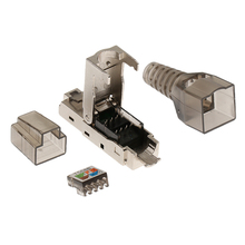 CAT6A RJ45 Termination Plug Network Connector Modular Plugs Shielded Connectors Ethernet Cable Adapter Metal Shielded Shell rj45 connector plugs and socket network cable female connector 90 degree angle led display signal connector