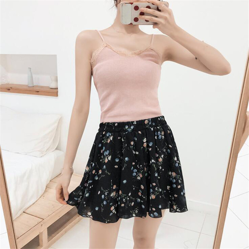 2019 summer shorts female short skirt female loose printed skirt short casual large size high waist loose wide leg short(China)