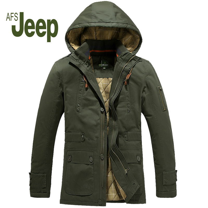 Winter men's cotton jacket afs jeep long coat thicker hooded men's brand warm and comfortable cotton-padded jacket 200