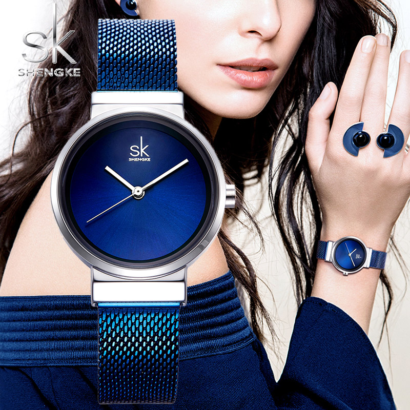 Shengke Luxury Stainless Steel Blue Watch Women Fashion Quartz Watch For Reloj Mujer 2018 SK Ladies Watches Christmas Gift K0083