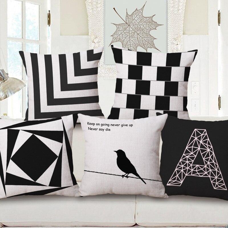 Fundas de almohada de algodón y lino, cojín blanco y negro letras ...