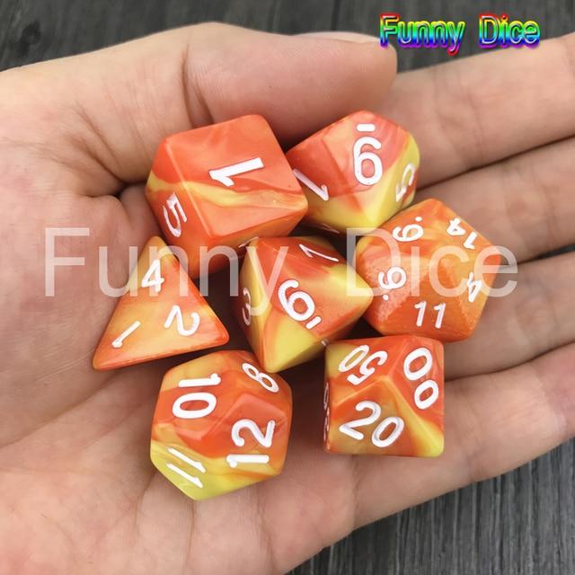 Novos Dados DND 7 pçs/set Colorido Conjunto D4, D6, D8, D10, D10 %, D12, d20 Dungeons And Dragons, novidade Digital de RPG, como Presentes