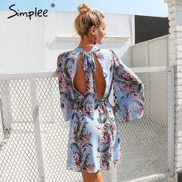 Backless lace up summer dress women Flare sleeve floral print chiffon dress Beach casual short dress robe femme 2018