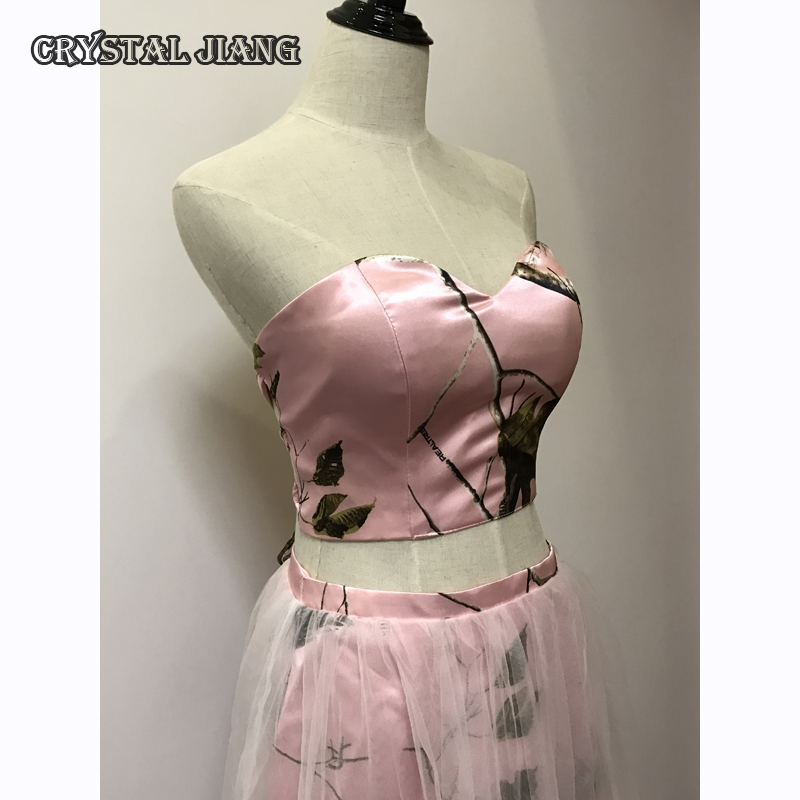 DISCOUNT 618 Short Pink Floral Camo   Bridesmaid     Dress   Two Pieces Only ONE