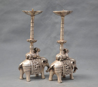 China Tibet Silver Bronze pair elephant candle stick Bronze Statue