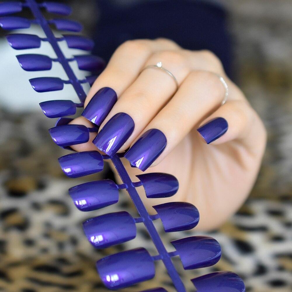 New Shiny Dark Blue Nail Art Tips DIY Medium Full Cover ...