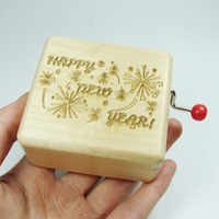 Handmade Wood Happy new year music box special cool gift customized
