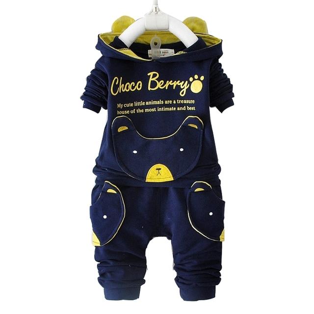 2017 Primavera nuevo bebé ropa 100% de algodón de manga larga chaqueta + pantalones 1 ropa de bebé set 0-3 año del juego del bebé