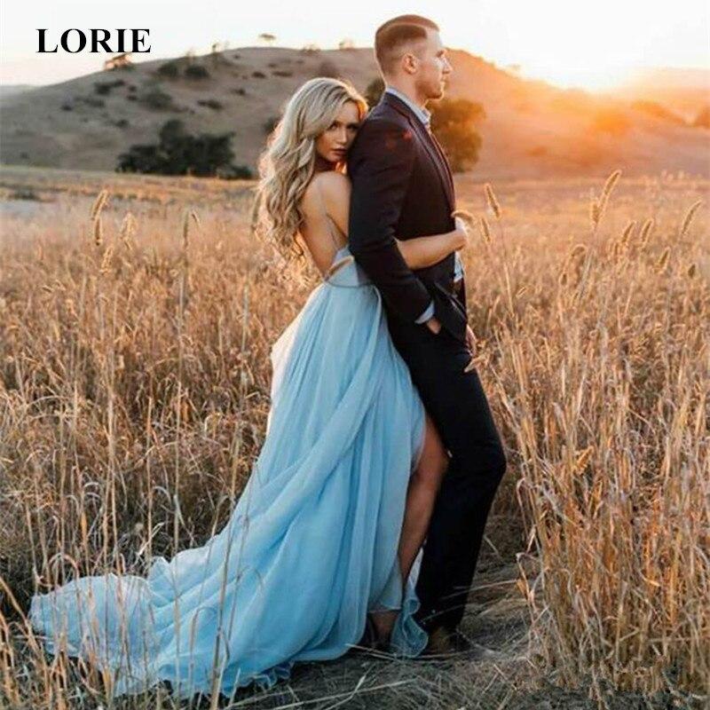 LORIE Simple Wedding Dress 2019 A Line Sexy Backless Thigh Split Sky Blue Chiffon Princess beach wedding gown with court train