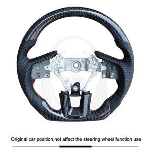 QHCP volante de fibra de carbono de cuero de vaca de felpa para coche accesorios especiales para Subaru Forester Outback Legacy XV 2009-2018