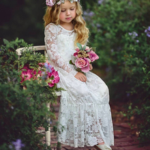 Cute Flower girl dress 0-3t boutique tutu  baby lace floral long party sweety bow-knot princess clothing