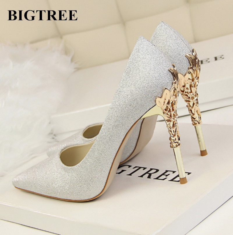 Aliexpress Buy New BIGTREE Shoes Woman Wedding Shoes High Heeled Metal Heels Elegant