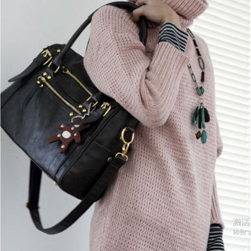 3aa7111290c Women Fashion Korean Style Faux Leather Hobo Purses Shoulder Bags Handbag  Lady (Color  Brown black) BAOK 014a-in Top-Handle Bags from Luggage   Bags  on ...