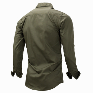 Image 2 - Magcomsen 2019 Zomer Shirts Mannen Lange Mouwen Katoen Militaire Stijl Leger Shirts Ademend Jurk Shirts Voor Mannen Kleding GZDZ 11