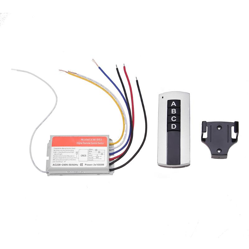 AC 220V-240V 3-Channel Wireless Digital Remote Control with ON/OFF Switch remote Controller for Light Ceiling Lamp Exhaust Fan small relays wireless rc switch button signal line on off dc3 7 5v 12v controller remote control module