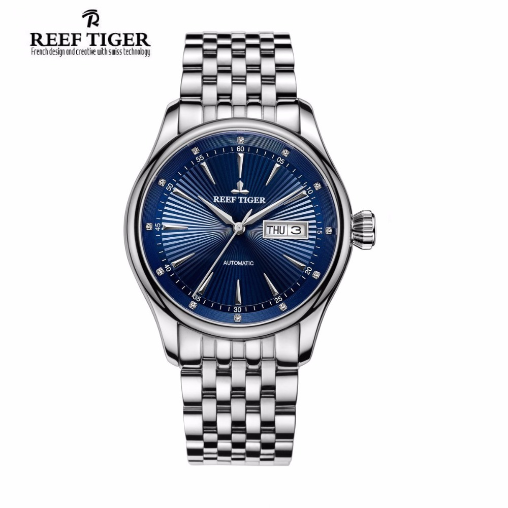 2017 Reef Tiger/RT Luxury Dress Watch for Men Stainless Steel Bracelet Blue Dial Automatic Wrist Watches RGA8232 833 stylish 8 led blue light digit stainless steel bracelet wrist watch silver blue 1 x cr2016