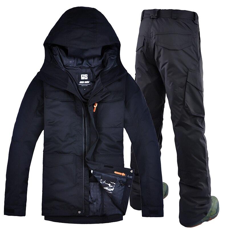 GSOU SNOW hommes planche livraison gratuite veste de ski zipper coupe-vent respirant combinaison de ski costume hommes double simple plaque combinaison de ski