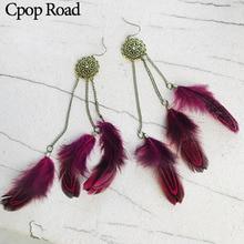 Cpop Vintage Boho Long Tassel Feather Earrings Handmade Tribal Chic Pendant Ethnic Dangle Earring Women Accessories Jewelry Gift цена в Москве и Питере