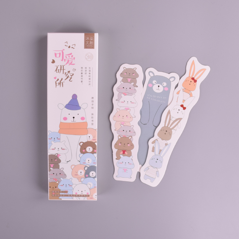 30 Pcs/box New Cute Animal Cartoon Student Paper Bookmark Stationery Bookmarks Book Holder Message Card School Supplies