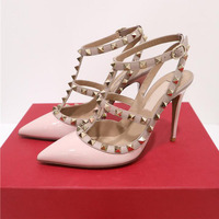 New Hot nude Women Platform Pumps Ladies Sexy Round Toe Rivet High Heels Shoes Fashion Buckle Studded Stiletto Sandals 34 43 box