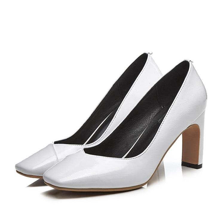 Pompes Printemps black Cuir Automne Vache Mljuese 42 Femmes Haute Slip Véritable 34 Blanc En White Sur Taille 2018 La Couleur Talons BERgxRwqPp