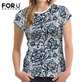 FORUDESIGNS Summer T-shirts Women Shirts Sexy Black Lace Rose Fashion Lady Tee Tops Woman Casual Short Sleeved Tshirt Crop Tops