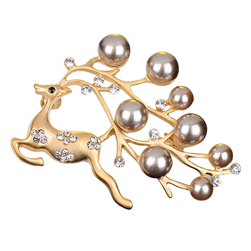 1PC Christmas Elk Silver Women brooch Plated Clear Rhinestone Crystal Diamand and Pearl Center Bow Brooch Weddings Accessories