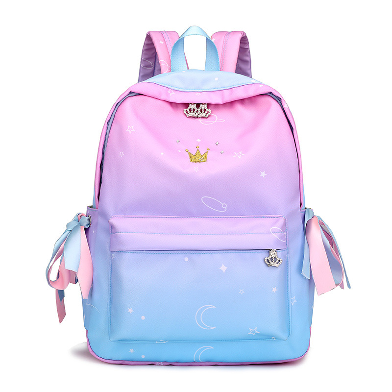 Ribbon Backpack Schoolbag Embroidery Crown Teenage Preppy-Style Gradient Girls for Mochilas-Feminina