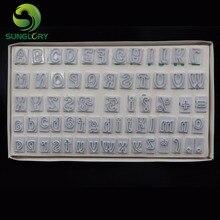 64 unids/set diy fondant cortador molde para hornear de plástico personajes de alto y minúsculas letras del alfabeto cookie cutter cake decoratingtools