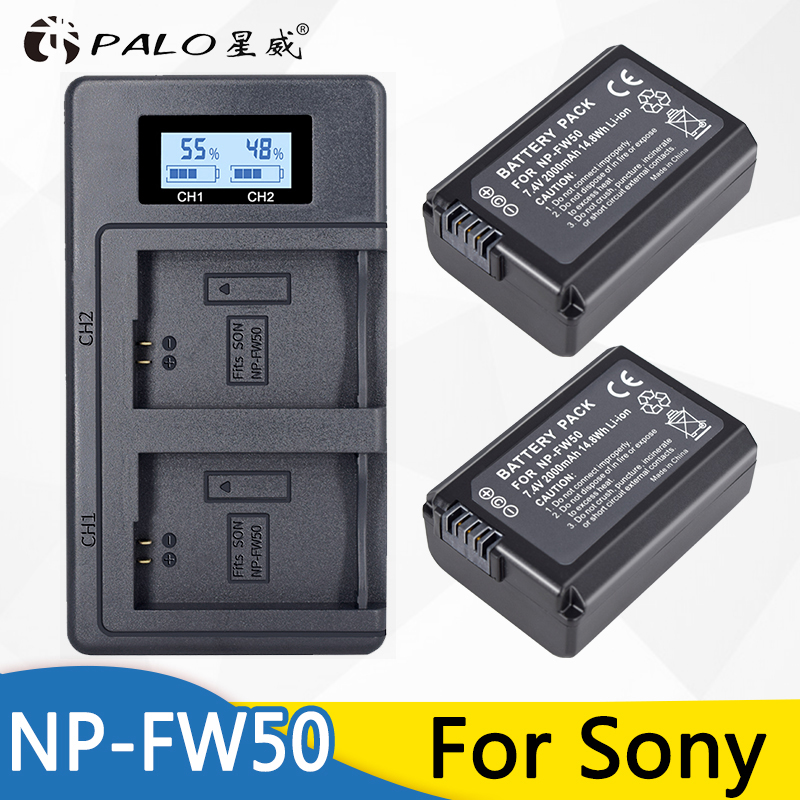 PALO 2x bateria NPFW50 NP-FW50 + cargador de batería inteligente LCD para SONY NEX 5 T 5R 5TL 5N 5C 5CK a7R A7 F3 3N 3CA55 A37 A5000 A6000 A55