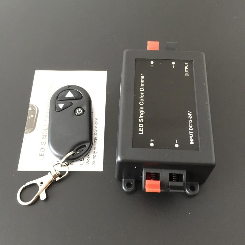 Černý stmívače RF bezdrátové dálkové ovládání článek 12 v - 24 v nastavitelný jas lampy