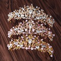 3 Colors Fashion Crystal Tiara Pink Pearl Bridal Crown Bride Headband Hairband Headpiece Veil Tiara Wedding Hair Accessories