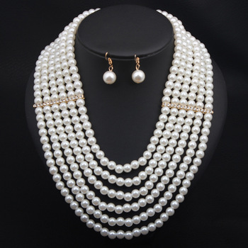 White Pearl Jewelry Crystal Multi Layer Necklace Earrings Set