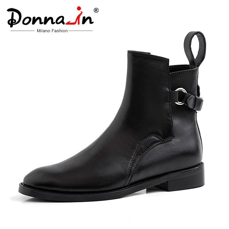 Donna 2019 ฤดูใบไม้ร่วงรองเท้าหนังผู้หญิงสีดำแบนข้อเท้ารองเท้าผู้หญิงรอบ Toe รองเท้าส้นสูงหัวเข็มขัดเชลซีรองเท้าผู้หญิงรองเท้า-ใน รองเท้าบูทหุ้มข้อ จาก รองเท้า บน   1