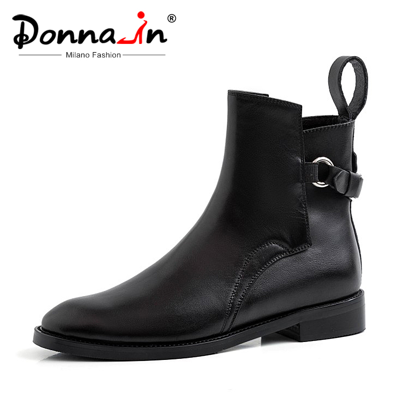 Donna in 2019 Autumn Leather Boots Women Flat Black Ankle Boots For Women Round Toe Low Heels Buckle Chelsea boots Ladies shoes-in Ankle Boots from Shoes    1