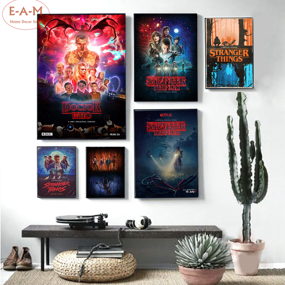 Pop Movie Stranger Things Posters Prints Boy Room Decor Wall Art Canvas Painting