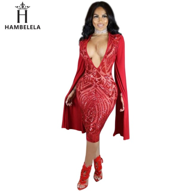 hambelela sequins sexy dress metal christmas party dresses v halter split office dress robe sexy pull