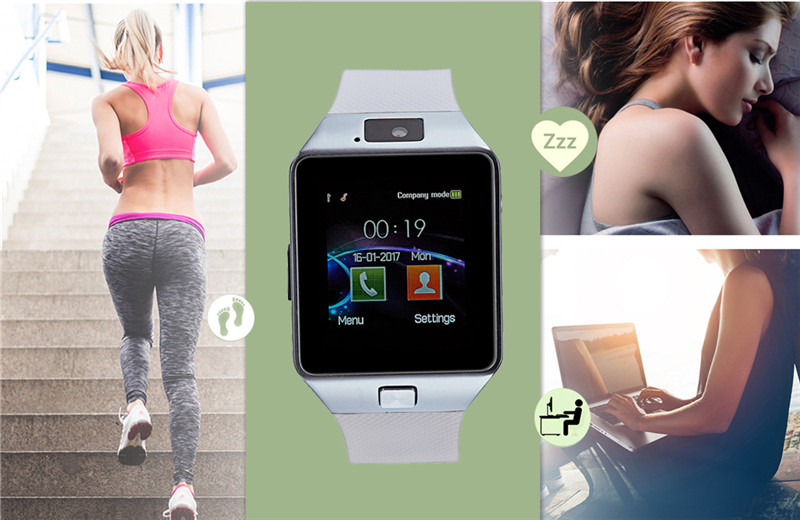 Smart Watch DZ09 Android Phone TF Sim Card Camera Men Women Sport Wristwatch with Packing Box black one size 14