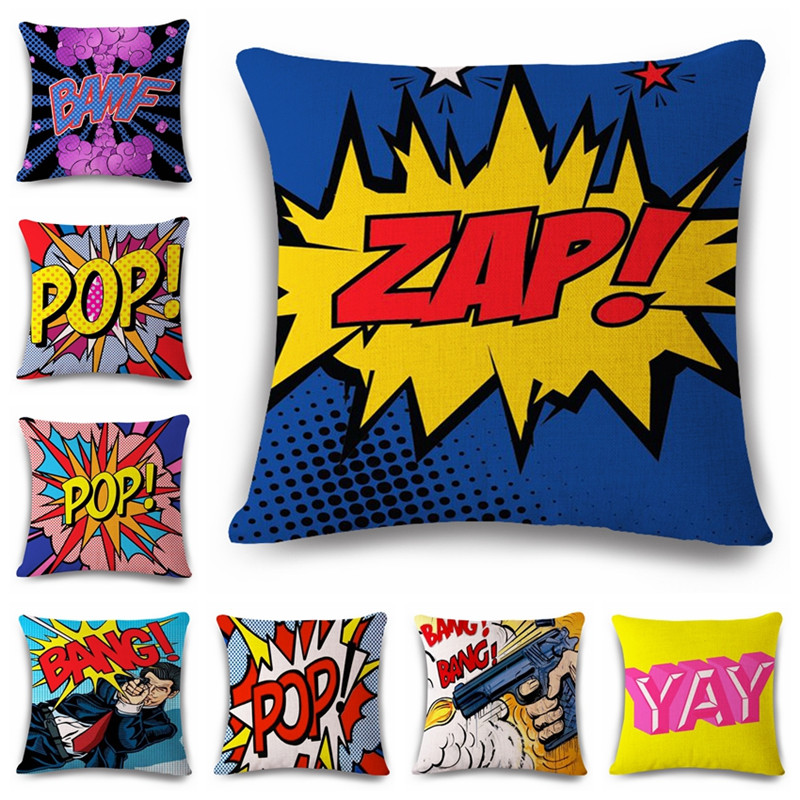 18 '' Square Graffiti Rock och Roll Style Kuddeomslag Letters POP WOW POW BANG Superman Print Pillow Cover Pillowcase