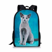 FORUDESIGNS Cute Russian Blue Cat Print School Bags Backpack for Girls Boys Orthopedic Schoolbag Children Book Bag Custom Image недорого