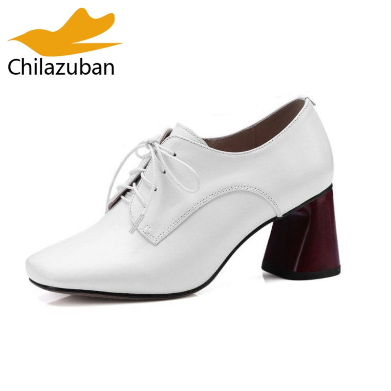 Chilazuban Size 33-42 Vintage Women High Heel Shoes Women Real Leather Cross Strap Thick Heel Pumps Party Shoes Women Footwear kemekiss size 32 43 sexy lady platform high heel shoes women ankle strap thick heel pumps party club office shoes women footwear