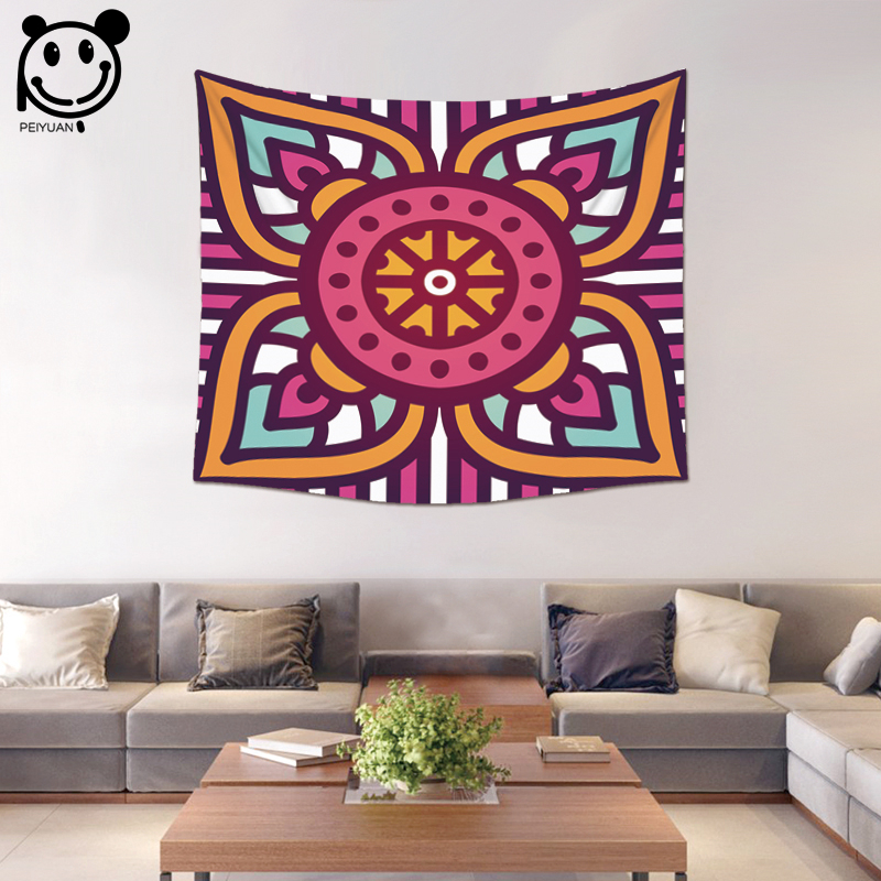 PEIYUAN Colorful India Mandala Tapestry Factory Custom Wholesale Wall Hanging Table Cloth Tapestry Beach Towel Home Decorative