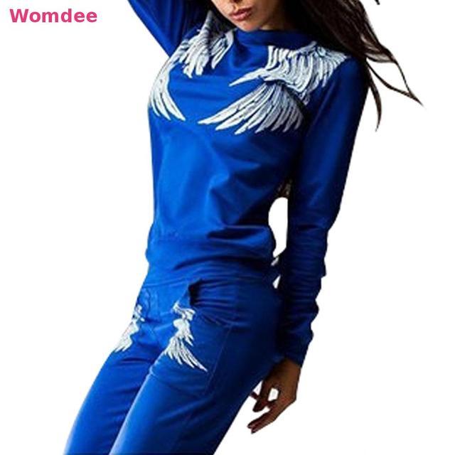 2016 Outono Inverno Mulheres Casual 2 peças Define Terno da Senhora Terno agasalho swearshirt Impresso Asas 3 cores Preto azul Mais Sizexl