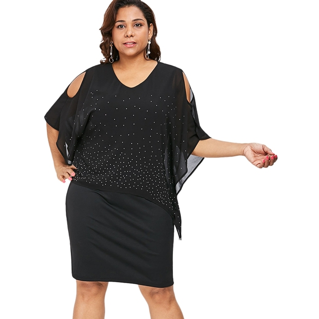 5XL Plus Size Cold Shoulder V-Neck Overlay Dress Women 3 4 Sleeve Dot Print  Bodycon Female Casual Knee-length Sheath Black Dress a07d0d66aa44