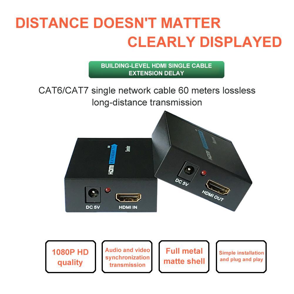 HDMI Genişletici 60 Metre HDMI RJ45 Tek Ağ Kablosu HD 1080P Sinyal Amplifikasyon Genişletici Ethernet Portu Ağ Genişletici title=