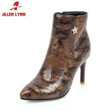 ALLENLYNN New Mature mixed-color Ankle Boots Women 2019 Add Fur Autumn Winter Plus Size 31-47 High Heels Shoes Woman
