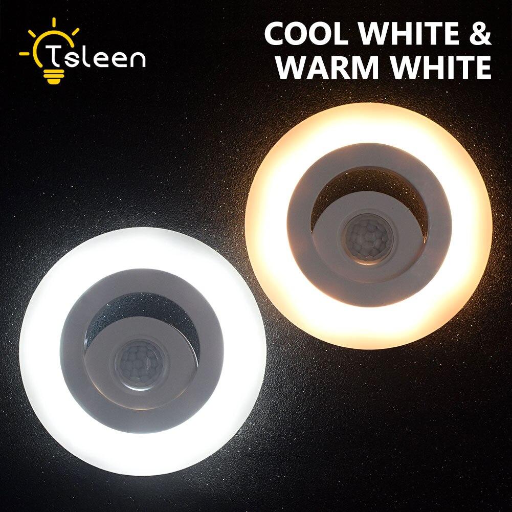 TSLEEN Mini Wireless Wall Lamp Smart IR Motion Sensor Inductive 8 LED Night Light For Cabinets Closet Kitchen Cool Warm White